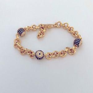 🧿Silver bracelet blue evil eye cz stones 925